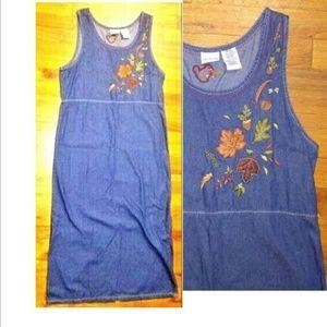 Bobbie Brooks denim embroidered maxi dress